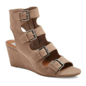 Dolce Vita Taupe Gladiator Wedge Sandals